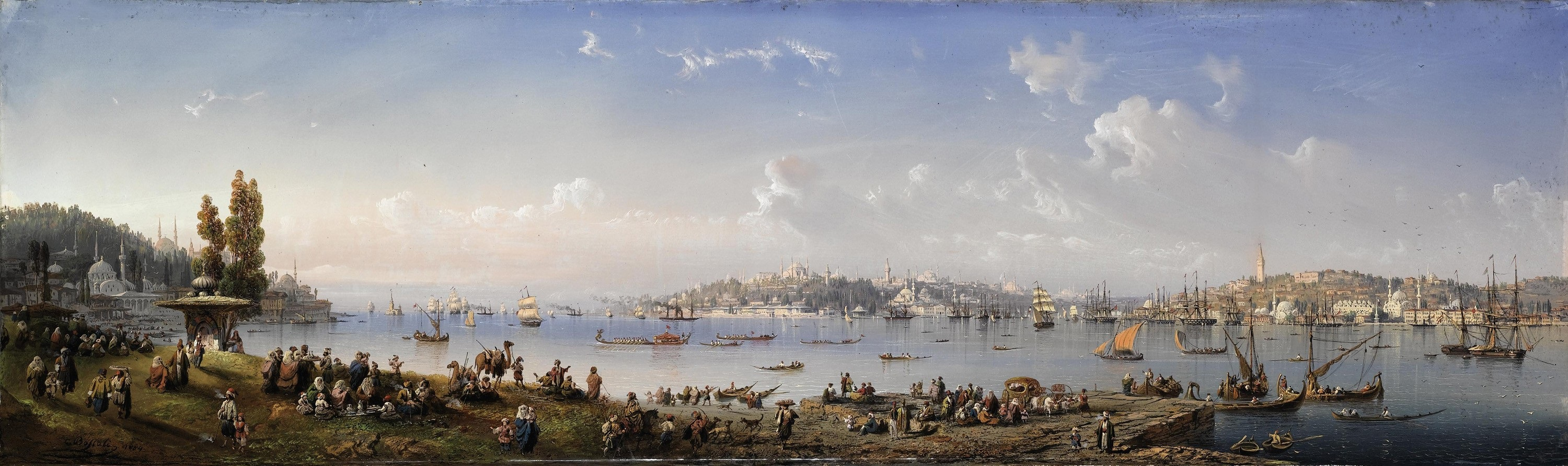 Carlo Bossoli A panorama of Constantinople from Uskudar 1854 1